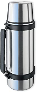 Isosteel VA-9553Q 34 fl. oz. Double Walled Vacuum Flask with Isulating Plastic Drinking Mug and Quickstop System for One Hand Use
