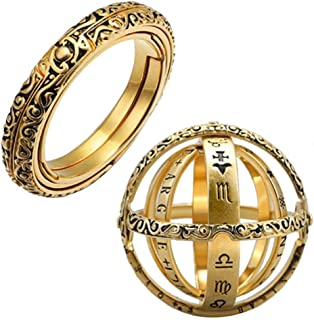 Cocity 2019 New Creative Openable Ring Armillary Sphere Astronomical Globe Ring Vintage Science Jewelry Best Gift for Lover Family Friends as Birthday Anniversary Celebration