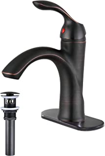 Greenspring Bathroom Sink Faucet Single Handle Oil Rubbed Bronze Bath Stream Lavatory Vanity One Hole Lever Basin Mixer Tap Deck Mount Low-Arc Long Spout Commercial Supply Hose Lead-Free
