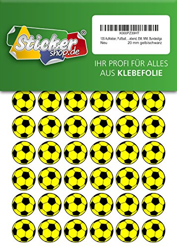 135 Aufkleber, Fußball, Sticker, 20 mm, gelb/schwarz, aus PVC, Folie, bedruckt, selbstklebend, EM, WM, Bundesliga