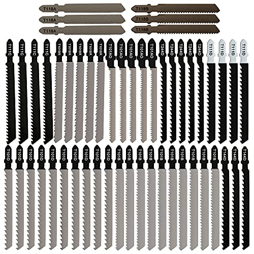 Kyoffiie 52 Pieces T-Shank Jigsaw Blade Set with Storage Case, 10 Type Assorted Jig Saw Blades Set for Wood, Plastic Metal Cutting - T118A/T118B/T144D/T111C/T111D/T244D/T101BR/T101AO/T101B/T101D