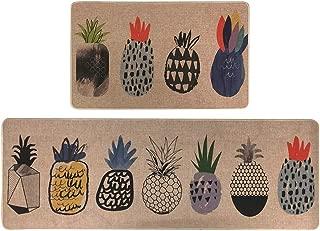 LISIBOOO 2 Piece Microfiber Kitchen Rugs Cushioned Chef Soft Non-Slip Rubber Back Floor Mats Washable Doormat Bathroom Runner Area Rug Carpet (17''x29''+17''x47'', Pineapple)