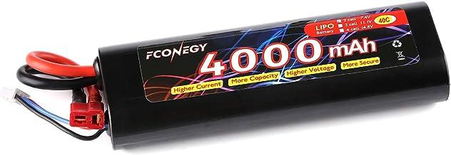 FCONEGY RC Akku 7.4V 4000mAh 2S 40C LiPo Batterie mit Deans T Stecker Modellbau Akkupack für RC Auto Boot Truck LKW Car Batterien