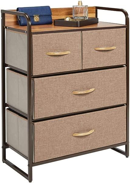 MDesign Dresser Storage Chest Sturdy Metal Frame Wood Top Easy Pull Fabric Bins Organizer Unit For Bedroom Hallway Entryway Closet Textured Print 4 Drawers Coffee Espresso Brown