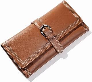 Pusaman The New Simple Retro Buckle Clutch, Women's Fashion Long Paragraph Folded Wallet Multi-Card bit (Color : Brown, Size : 19.5 * 1.5 * 9.7cm)