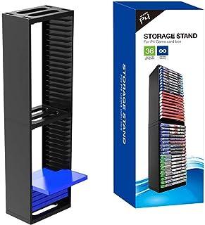 Estanterías para CD DVD Torre de almacenamiento de discos para juegos de CD, soporte universal para discos Blu-ray, estante de exhibición de discos para PS4/consola de juegos, retención máxima de disc