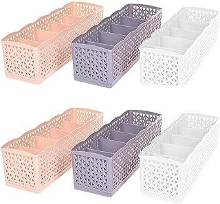 WSERE 6 Pack 5 Grilles Organisateur de Tiroir Panier Boîte de pour penderie de Rangement Diviseurs de Tiroir Cubes de Rang...