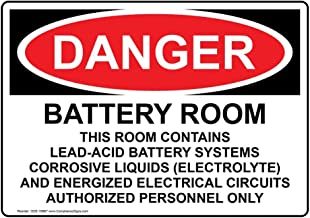 Danger Battery Room Contains Lead-Acid OSHA Safety Label Decal, 5x3.5 in. 4-Pack Vinyl for Process Hazards Restricted Access Hazmat by ComplianceSigns