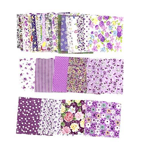 dljztrade stof voor het naaien, bloemenmotief, patchwork, stof, katoen, uni, om te naaien, quilting Paars.