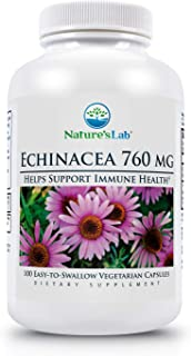 Nature's Lab Echinacea - 760mg - 100 Capsules (50 Day Supply) Powerful All Natural Immune System Support Non-GMO Gluten Free