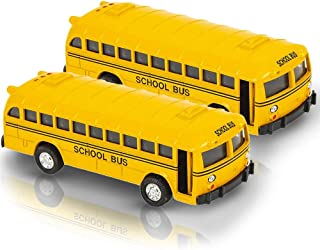 ArtCreativity 5 Inch Pull Back School Bus Playset, Set of 2 Classic School Buses, Diecast Bus Toy Set with Pull Back Mecha...