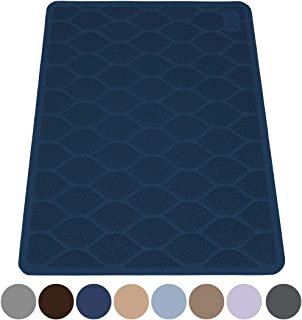 """MIGHTY MONKEY Premium Cat Litter Trapping Mats, Phthalate Free, Best Scatter Control, Jumbo XL Sizes (35"""" x 23""""), Mat Traps Litter, Easy to Clean, Soft on Kitty Paws (Navy)"""