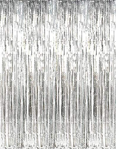 Asunflower 6.5Ft Metallic Tinsel Silver Foil Fringe Curtains Backdrop New Year Hanging Streamers for Party/Prom/Birthday Favors