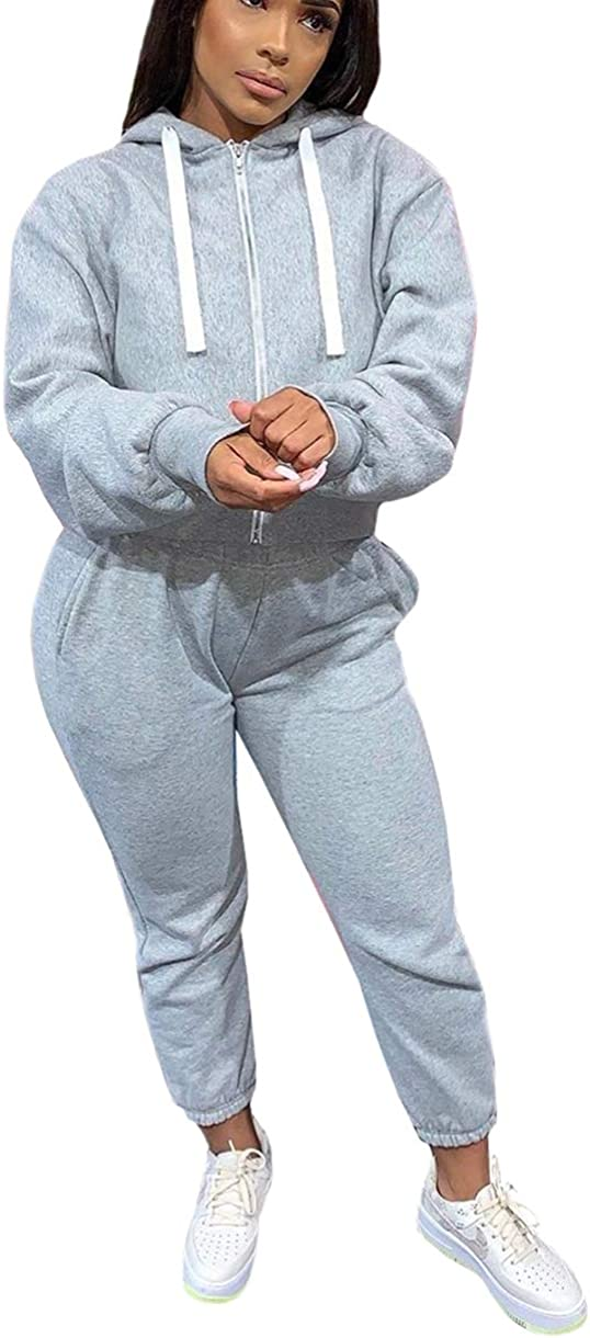 bluewolfsea Womens Solid Zipper Sweatsuits Sets 2 Piece Long Sleeve Hoodie Jacket and Pants Set Tracksuit Outfits
