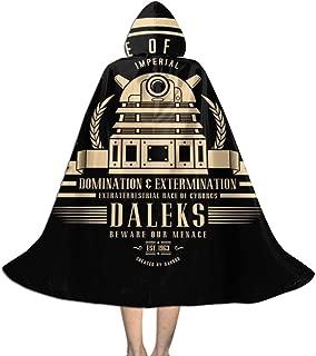 QINWEILU Doctor Who Daleks Unisex Kids Hooded Cloak Cape Halloween Party Decoration Role Cosplay Costumes Outwear Black