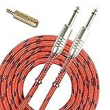 SUNYIN Cables De Instrumentos Musicales, Acordes Para Guitarra Eléctrica y Bajos Adaptador De Audio Estéreo GRATUITO, 10 pies (3 m) Heterosexual 1/4 Rojo