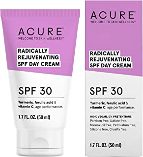 ACURE Radically Rejuvenating SPF 30 Day Cream | 100% Vegan | Provides Anti-Aging Support | Turmeric, Ferulic Acid & Vitamin C - Provides Sun Protection & Antioxidants | 1.7 Fl Oz
