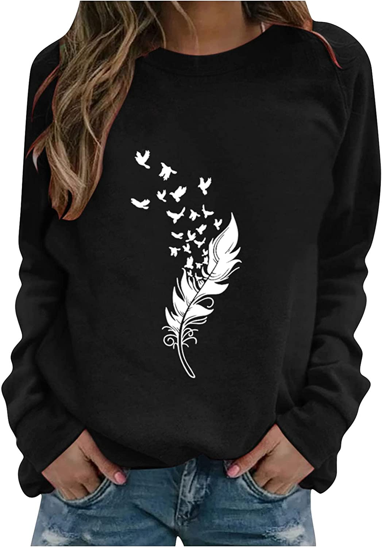 Oiumov Sweatshirts for Women, Women's Teen Girls Soft Print Long Sleeve Hoodies Casual Loose Hooded Top Shirts Blouse
