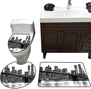 3 Piece Toilet lid Cover mat Set Modern Brooklyn Bridge Sunset with Manhattan American New York City Famous Town Image Pattern Rug Set Black and White