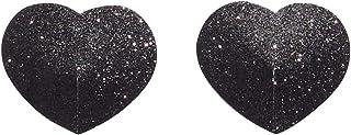Savage X Fenty Women's Reg Glitter Heart Pasties, Black Caviar, One Size