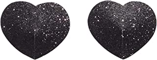 Savage X Fenty Women's Reg Glitter Heart Pasties, Black Caviar, One Size