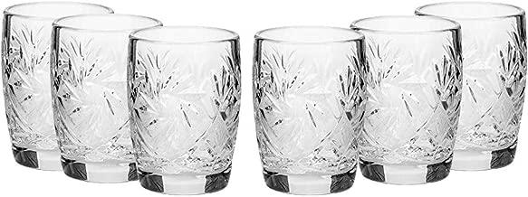 SET of 6 Russian CUT Crystal Shot Glasses 50ml Hand Made