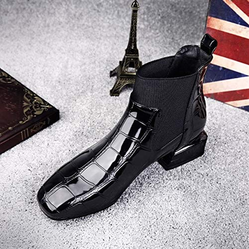 Shukun enkellaarzen Women'S Boots herfst en winter platte laarzen vierkant hoofd zwart helder leer dik met Martin laarzen persoonlijkheid korte buis kaal laarzen