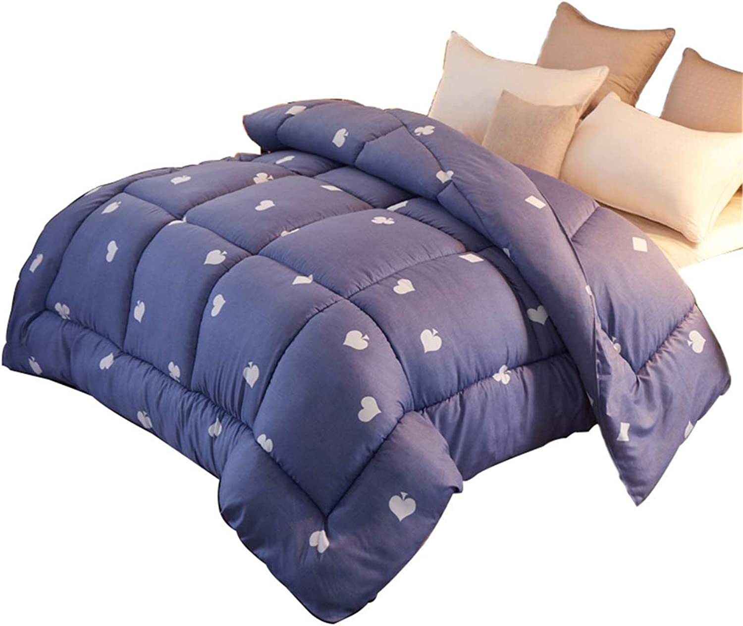 Warm Quilt Quilted Quilt 100% Polyester Fiber Filled Warm Increase Thickness Soft Comfortable Fashion Print Winter Active Print Single Twin bluee Heart-Shaped Comforter Antiallergic Quilt
