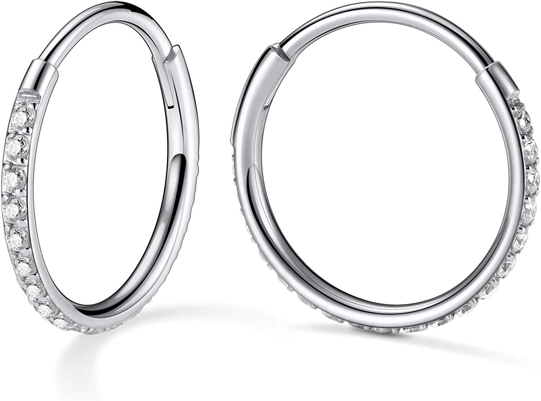 Vinjewelry Hoop Earrings -2 PCS Cartilage Earrings Hoop for Women Girls 20G 316L Surgical Steel Hypoallergenic Earrings