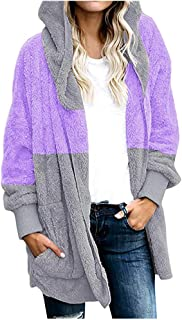 Lataw Women's Coats Oversized Fashion Casual Jacket Color Block Autumn Winter Open Front Hooded Draped Pockets Cardigan Clothes