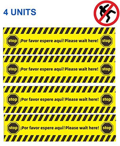 (SET DE 4) Pegatinas suelo distancia de seguridad para señalización de negocios pequeños, Acabado antideslizante,
