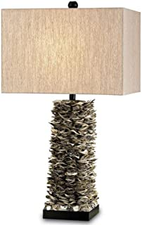 Currey Company 6862 Table Lamps with Oatmeal Linen Shades, Natural Shell Finished