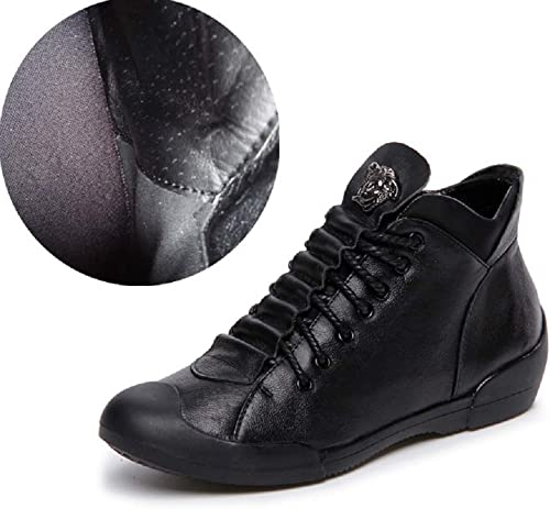 ZHRUI Stiefel de Cuero de damen con Cordones schwarzs schuhe Planos Suaves (Farbe   schwarz, tamaño   EU 38)