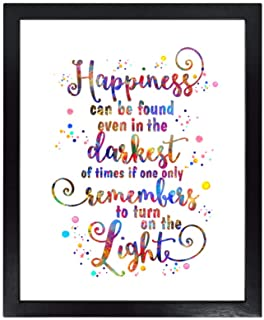 Dignovel Studios Unframed 8X10 Happiness Can Be Found Even in The Darkest of Times Inspirational Quotes Watercolor Art Print Home Wall Decor dnc41