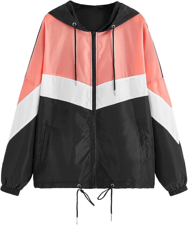 Kanzd Womens Tops Raincoat for Women Fashion Women's Casual Color Block Drawstring Lightweight Hooded Rain Jacket Outwear