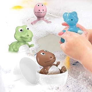 Baby Bath Toys Dinosaur Eggs Squirt Toys Dinosaur Water Squirt Guns 4 Piece Games Activities Toddler Bath Toys for Bathtub...