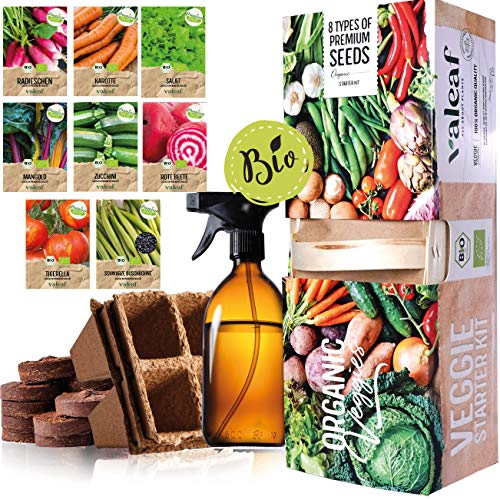 BIO Gemüse Anzuchtset mit 8 Gemüsesorten I Pflanzensamen Garten Set I Anzuchtset für Saat im Beet, Hochbeet und Balkon Gemüse I Gartenset Kinder für Pflanzen Anzucht I Gemüsesamen Pflanzen Set