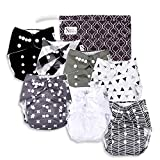 Unisex Baby Cloth Pocket Diapers 7 Pack, 7 Bamboo Inserts, 1 Wet Bag...