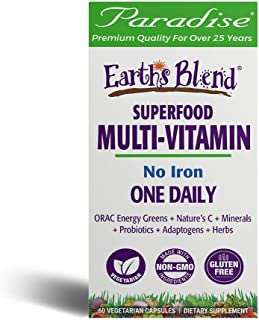 Paradise Herbs - Earth's Blend® Superfood Multivitamin No Iron - Orac Energy Greens + Nature's C + Minerals + Probiotics +...