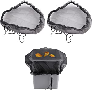 Atrusu [2-Pack] Mesh Cover, Rain Barrels Net with Drawstring, Rain Water Barrel Mesh Cover Collection Leaves for Outdoor Garden, to Keep Filter Out of Rain Barrels