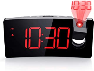 PICTEK Projection Alarm Clock, 4 Dimmer, Digital Clock with USB Phone Charger, Easy to..