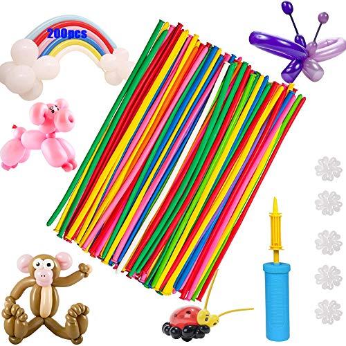 Palloncini Modellabili 200 Pezzi, Magici Palloncini, Assorted Colors Lungo DIY Lattice Palloncini per Matrimoni, Compleanni, Feste e Anniversari e Altre Celebrazioni con Pompa (1)
