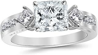 3.75 Carat 14K White Gold Channel Set Past Present Future 3 Stone Princess GIA Certified Princess Cut Diamond Engagement Ring (3 Ct H Color VS2 Clarity Center Stone)
