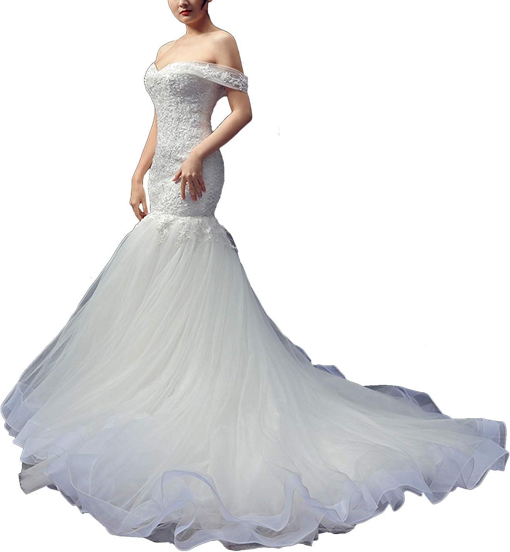 Amazon.com Women's Off Shoulder Lace Trumpet Mermaid Wedding ...