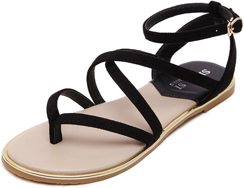 Baviue Women's Ankle Strap Fashion Sandals Leather Sandles