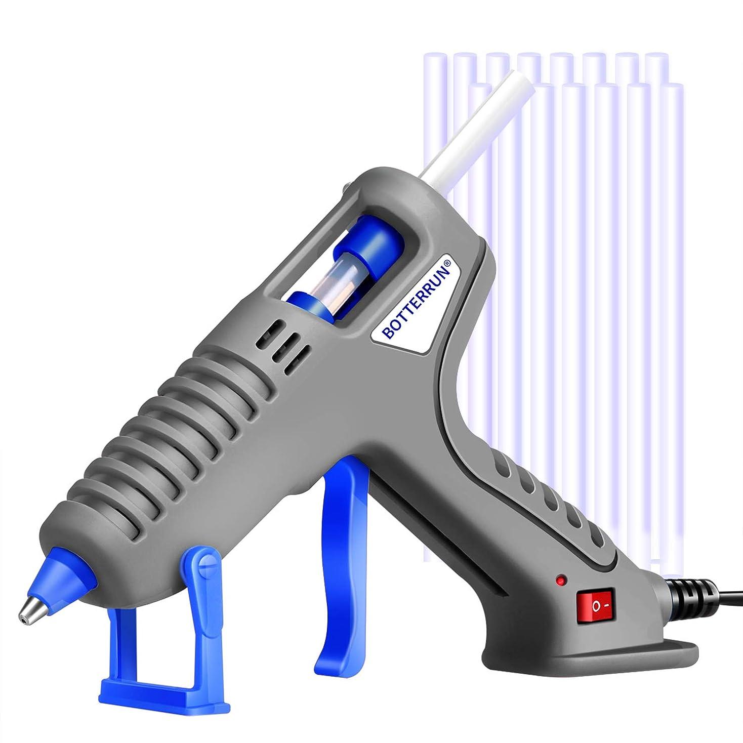 グルーガン BOTTERRUN 60W 小型ホットグルーガンセット高温 手芸用 木工用 DIY 補修 工具 15本付き 7mm 強力粘着 家 学校 工芸 毎日 ワーキング