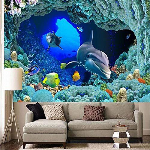 WERT Tapiz de Paisaje Colorido Tapiz con Estampado de Peces bajo el Agua Tapiz Bohemio decoración del hogar Tela de Fondo A4 150x200cm