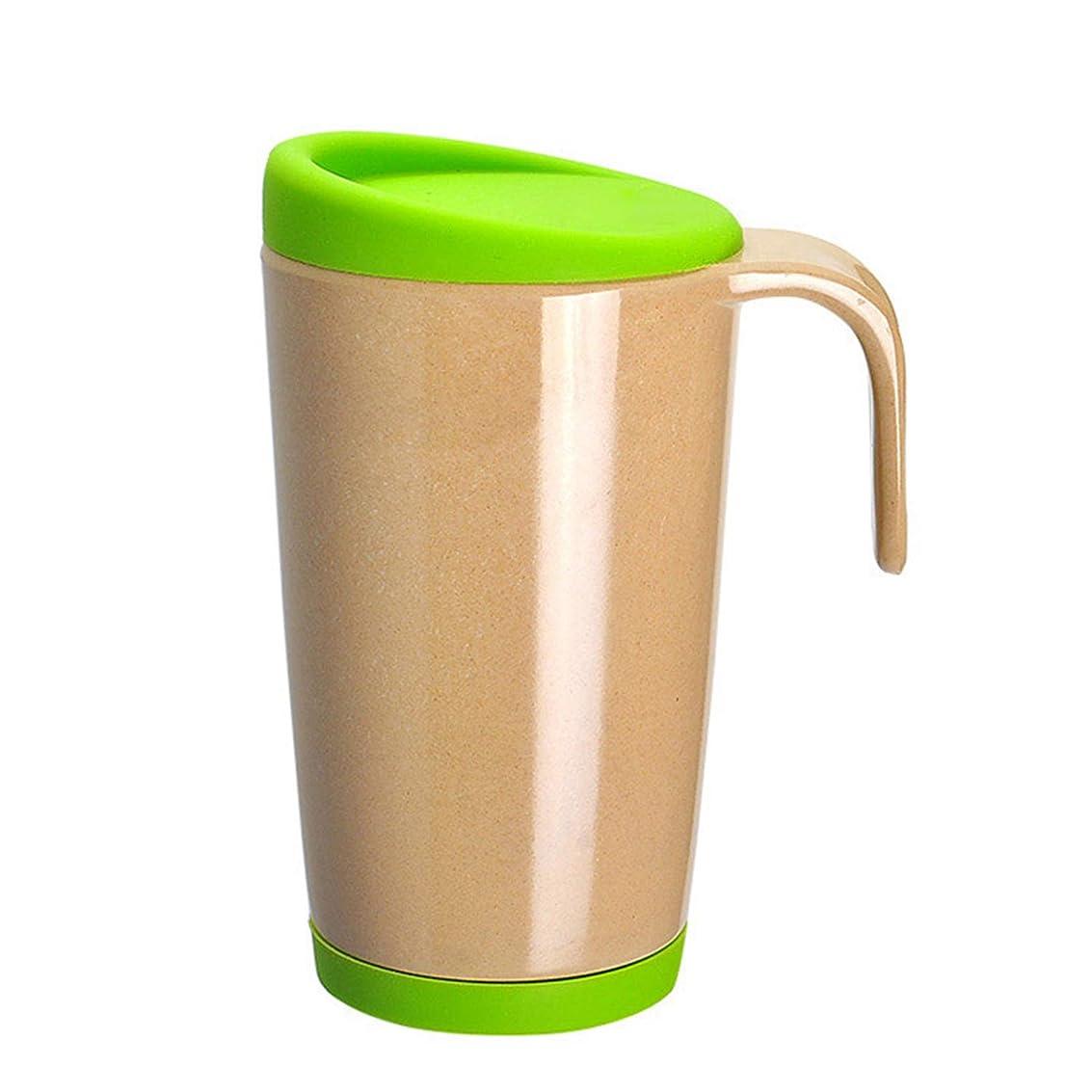 装置うまランプコーヒーカップ 蓋付きのコップ 断熱 恋人、友達、学生にプレゼント green