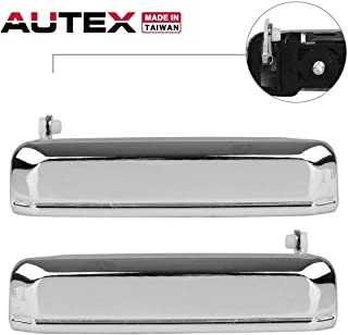 AUTEX 2pcs Chrome Exterior Door Handle (Front Rear Left Right) Compatible with Nissan D21 1986 1987 1988 1989 1990 1991 1992 1993 1994
