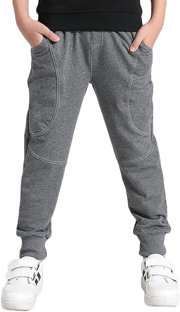 KISBINI Big Boys Cotton Sport Pant Athletic Sweatpant for Kids Children